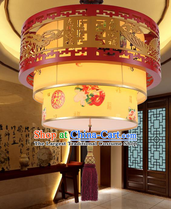 Chinese Traditional Classical Ceiling Palace Lantern Handmade New Year Carving Phoenix Lanterns Hanging Lamp
