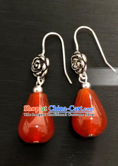 Traditional Chinese Mongol Nationality Agate Ear Accessories Mongolian Ethnic Folk Dance Earrings for Women