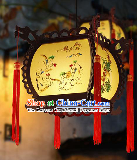Chinese Traditional New Year Yellow Palace Lantern Handmade Hanging Lanterns Ceiling Lamp