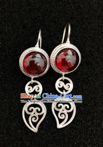 Traditional Chinese Mongol Nationality Red Beads Ear Accessories Mongolian Ethnic Earrings for Women