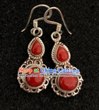 Traditional Chinese Mongol Nationality Red Calabash Ear Accessories Mongolian Ethnic Earrings for Women