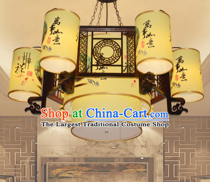 Chinese Traditional Classical Six Light Ceiling Palace Lantern Handmade New Year Lanterns Hanging Lamp