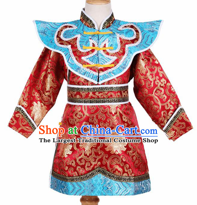Chinese Ethnic Costume Red Brocade Robe Traditional Mongol Nationality Folk Dance Clothing for Kids