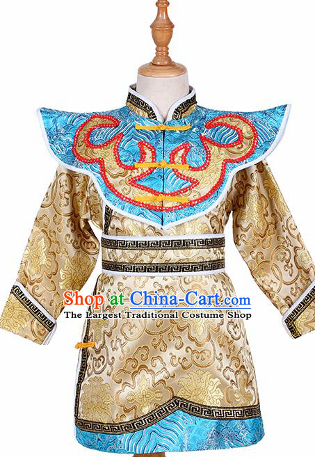 Chinese Ethnic Costume Golden Brocade Robe Traditional Mongol Nationality Folk Dance Clothing for Kids