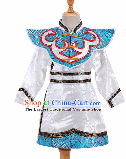 Chinese Ethnic Costume White Brocade Robe Traditional Mongol Nationality Folk Dance Clothing for Kids