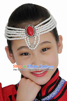 Chinese Mongolian Ethnic White Beads Hair Accessories Traditional Mongol Nationality Folk Dance Headband for Kids