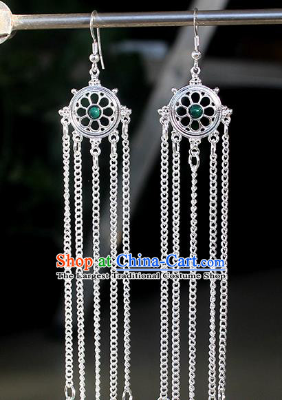 Chinese Mongolian Ethnic Green Bead Ear Accessories Traditional Mongol Nationality Folk Dance Earrings for Women