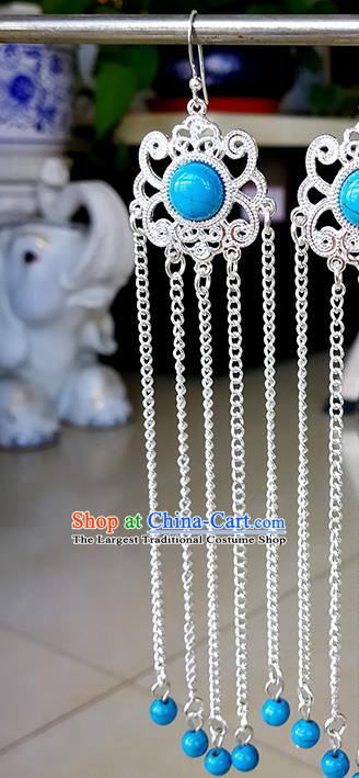 Chinese Mongolian Ethnic Blue Beads Ear Accessories Traditional Mongol Nationality Earrings for Women
