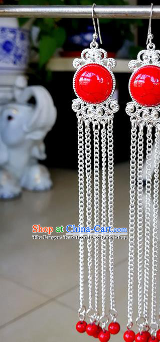 Traditional Chinese Mongolian Ethnic Red Beads Tassel Ear Accessories Mongol Nationality Earrings for Women