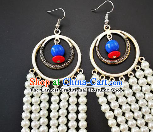 Traditional Chinese Mongolian Ethnic Folk Dance Ear Accessories Mongol Nationality White Beads Earrings for Women
