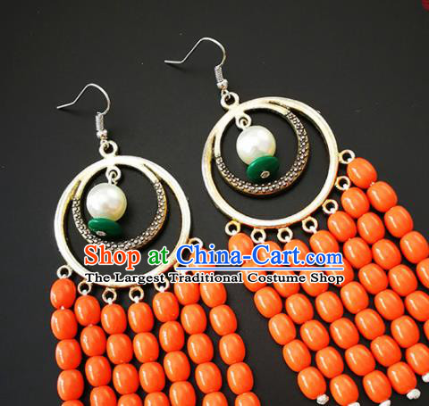 Traditional Chinese Mongolian Ethnic Folk Dance Ear Accessories Mongol Nationality Orange Beads Earrings for Women