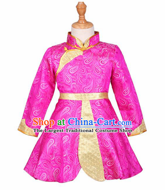 Chinese Ethnic Costume Rosy Mongolian Dress Traditional Mongol Nationality Folk Dance Clothing for Kids
