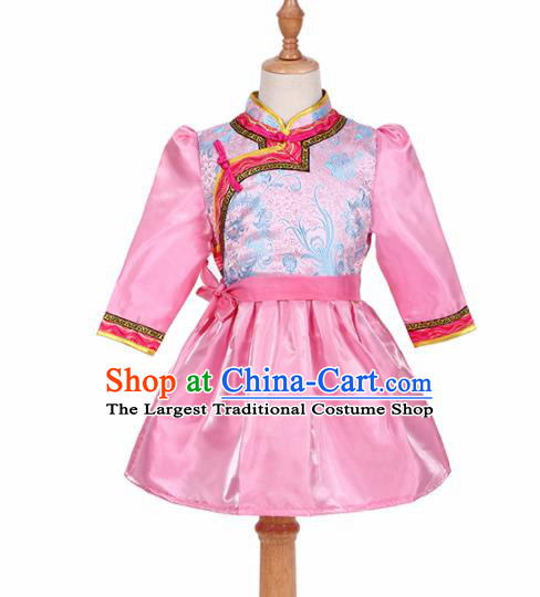 Chinese Ethnic Costume Pink Mongolian Dress Traditional Mongol Nationality Folk Dance Clothing for Kids