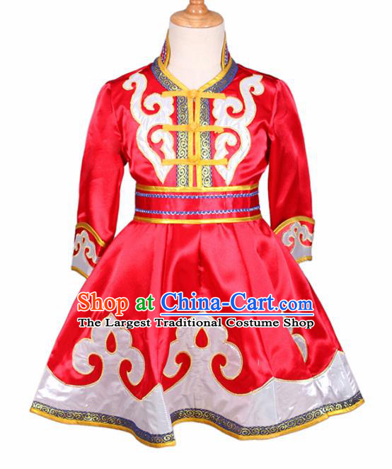 Chinese Ethnic Costume Red Mongolian Dress Traditional Mongol Nationality Folk Dance Clothing for Kids