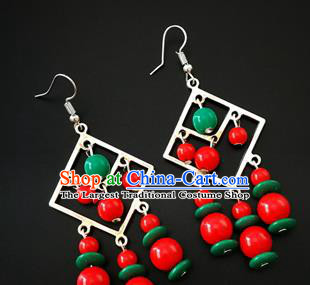 Traditional Chinese Mongolian Ethnic Ear Accessories Mongol Nationality Folk Dance Earrings for Women