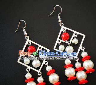 Traditional Chinese Mongolian Ethnic White Beads Ear Accessories Mongol Nationality Folk Dance Earrings for Women