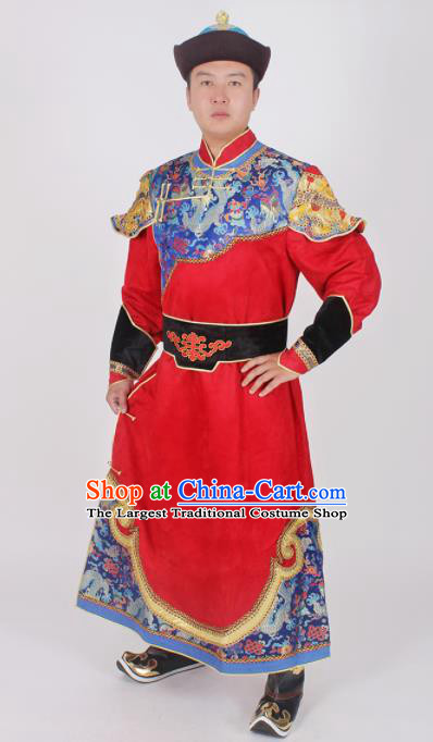 Chinese Ethnic Prince Costume Red Suede Fabric Mongolian Robe Traditional Mongol Nationality Folk Dance Clothing for Men