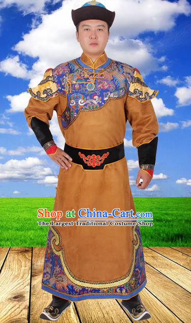 Chinese Ethnic Prince Costume Brown Suede Fabric Mongolian Robe Traditional Mongol Nationality Folk Dance Clothing for Men