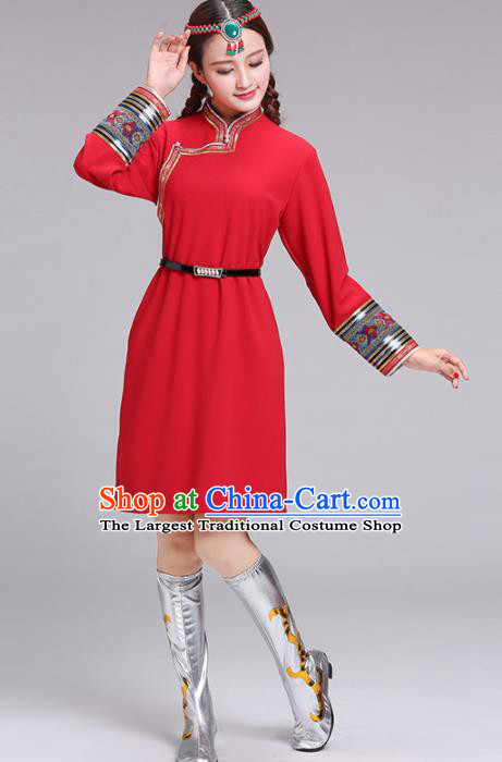 Chinese Mongolian Ethnic Costume Red Dress Traditional Mongol Nationality Folk Dance Clothing for Women