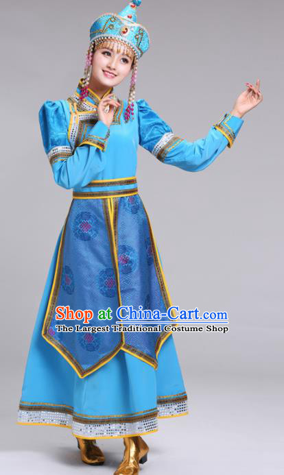 Chinese Mongolian Ethnic Folk Dance Blue Dress Traditional Mongol Nationality Princess Costume for Women