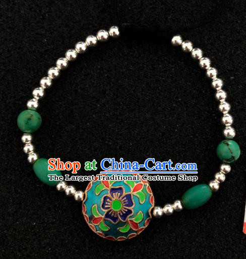 Traditional Chinese Mongol Nationality Cloisonne Bracelet Accessories Mongolian Ethnic Sliver Bangle for Women