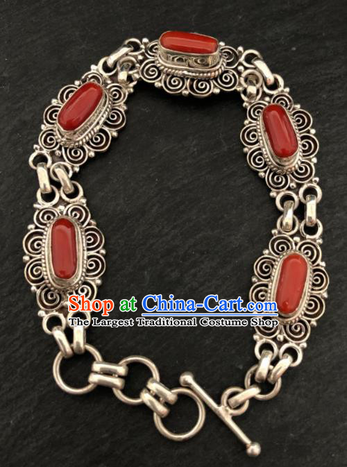 Traditional Chinese Mongol Nationality Sliver Bracelet Accessories Mongolian Ethnic Agate Bangle for Women