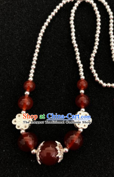 Traditional Chinese Mongol Nationality Agate Sliver Necklet Accessories Mongolian Ethnic Necklace for Women