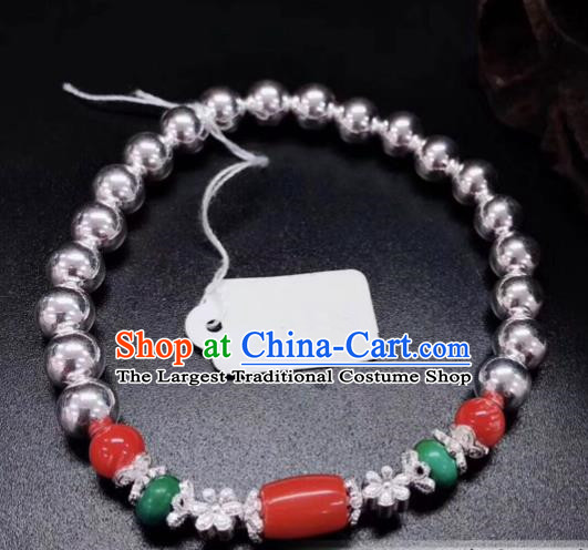 Traditional Chinese Mongol Nationality Ruby Bracelet Accessories Mongolian Ethnic Sliver Bangle for Women