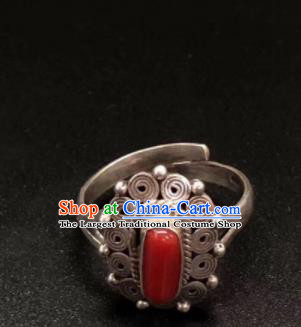 Traditional Chinese Mongol Nationality Sliver Ring Mongolian Ethnic Accessories for Women