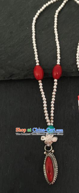 Chinese Mongol Nationality Sliver Necklet Accessories Traditional Mongolian Ethnic Red Stone Necklace for Women