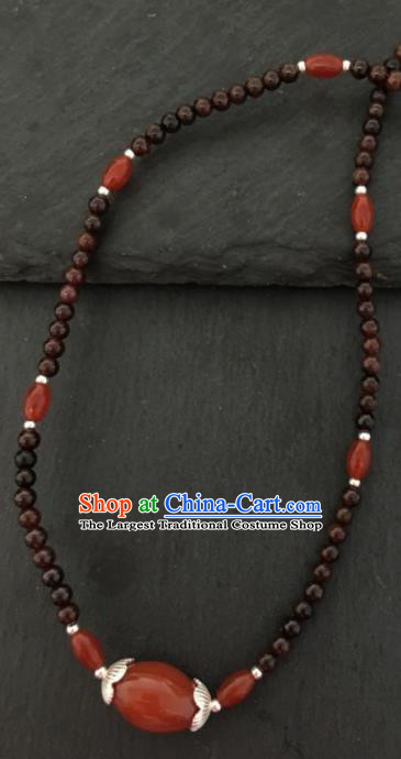 Chinese Mongol Nationality Garnet Necklet Accessories Traditional Mongolian Ethnic Red Stone Necklace for Women