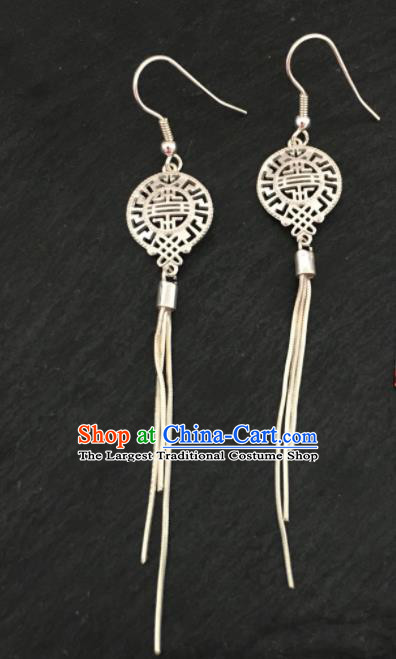 Traditional Chinese Mongol Nationality Tassel Ear Accessories Mongolian Ethnic Sliver Earrings for Women