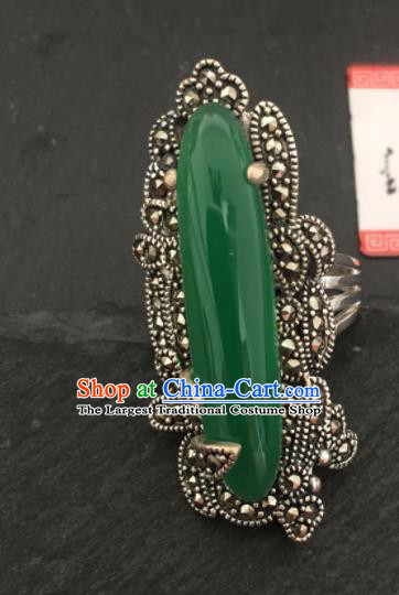 Traditional Chinese Mongol Nationality Green Chalcedony Ring Mongolian Ethnic Accessories for Women