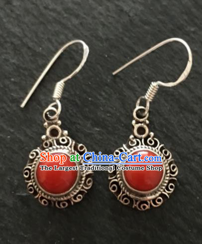 Chinese Mongol Nationality Ear Accessories Traditional Mongolian Ethnic Sliver Earrings for Women