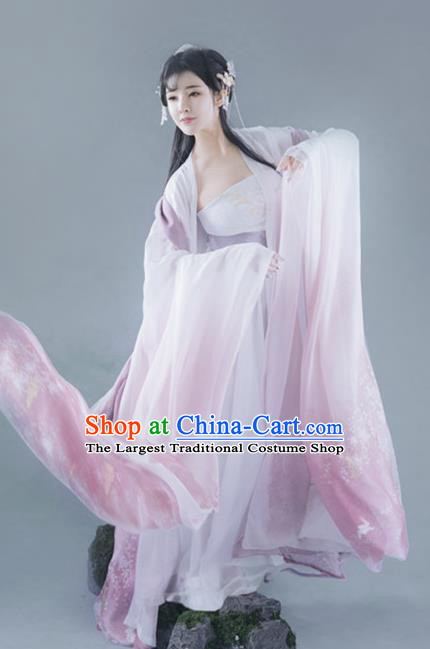 Chinese Ancient Legend Peri Goddess Hanfu Dress Traditional Tang Dynasty Imperial Concubine Historical Costume for Women