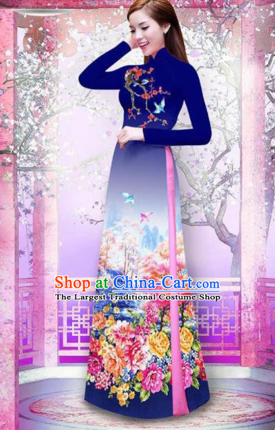 Vietnam Traditional National Printing Peony Navy Ao Dai Dress Asian Vietnamese Cheongsam for Women