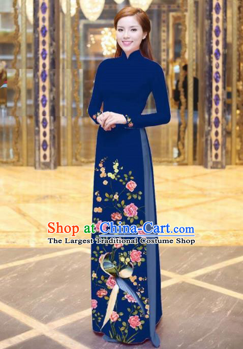 Vietnam Traditional National Printing Peony Birds Navy Ao Dai Dress Asian Vietnamese Cheongsam for Women