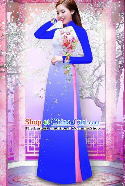 Vietnam Traditional National Printing Rose Flowers Royalblue Ao Dai Dress Asian Vietnamese Cheongsam for Women