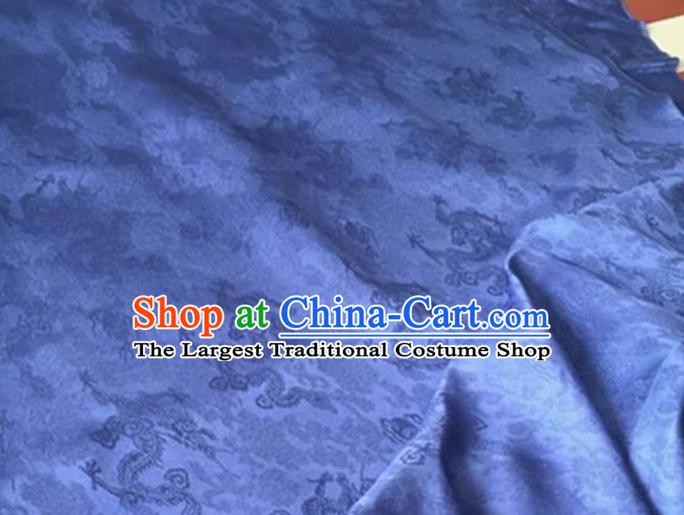 Blue Classic Royal 100% Pure Silk Round Dragon Pattern Fabric Chinese Traditional Silk Fabrics