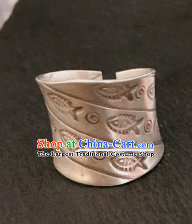 Chinese Traditional Mongol Nationality Rings Mongolian Ethnic Sliver Accessories for Women