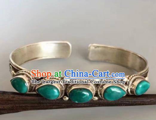 Chinese Traditional Mongol Nationality Turquoise Bracelet Mongolian Ethnic Sliver Bangle Accessories for Women