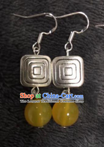 Chinese Traditional Mongol Nationality Yellow Sliver Earrings Mongolian Ethnic Ear Accessories for Women