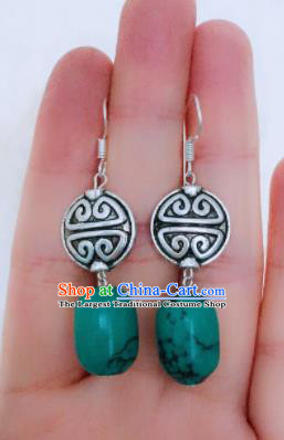 Chinese Traditional Ethnic Kallaite Earrings Mongol Nationality Ear Accessories for Women
