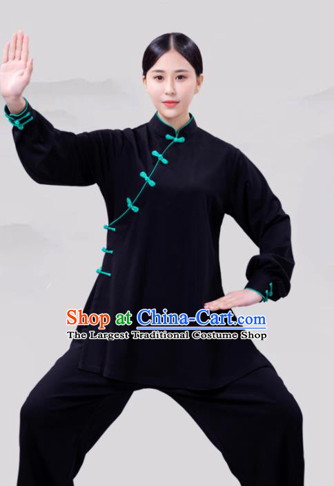 Traditional Chinese Martial Arts Competition Black Costume Tai Ji Kung Fu Training Clothing for Women