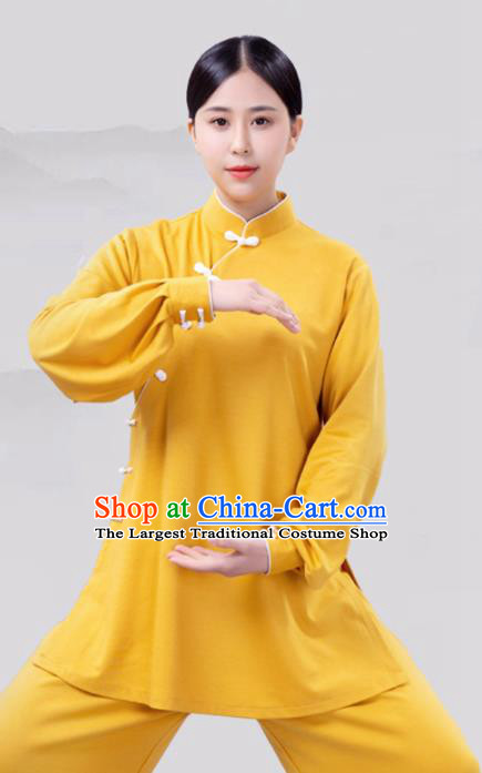 Traditional Chinese Martial Arts Competition Yellow Costume Tai Ji Kung Fu Training Clothing for Women