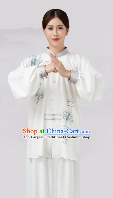 Traditional Chinese Martial Arts Competition Printing Blue Peony Costume Tai Ji Kung Fu Training Clothing for Women