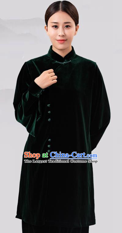 Traditional Chinese Martial Arts Competition Green Velvet Costume Tai Ji Kung Fu Training Clothing for Women