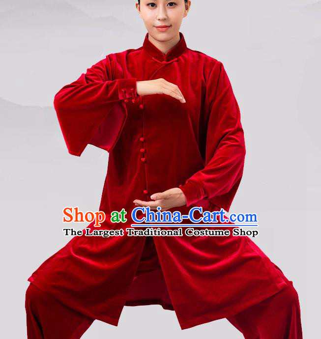 Traditional Chinese Martial Arts Competition Red Velvet Costume Tai Ji Kung Fu Training Clothing for Women