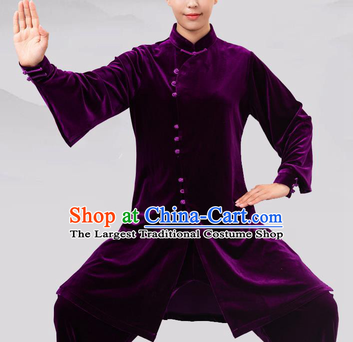 Traditional Chinese Martial Arts Competition Purple Velvet Costume Tai Ji Kung Fu Training Clothing for Women