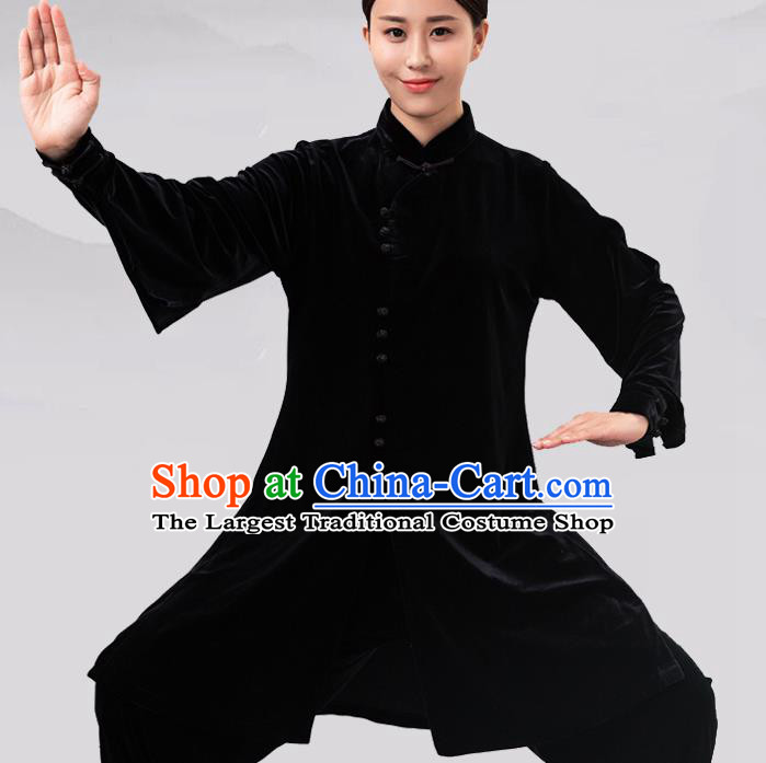 Traditional Chinese Martial Arts Competition Black Velvet Costume Tai Ji Kung Fu Training Clothing for Women